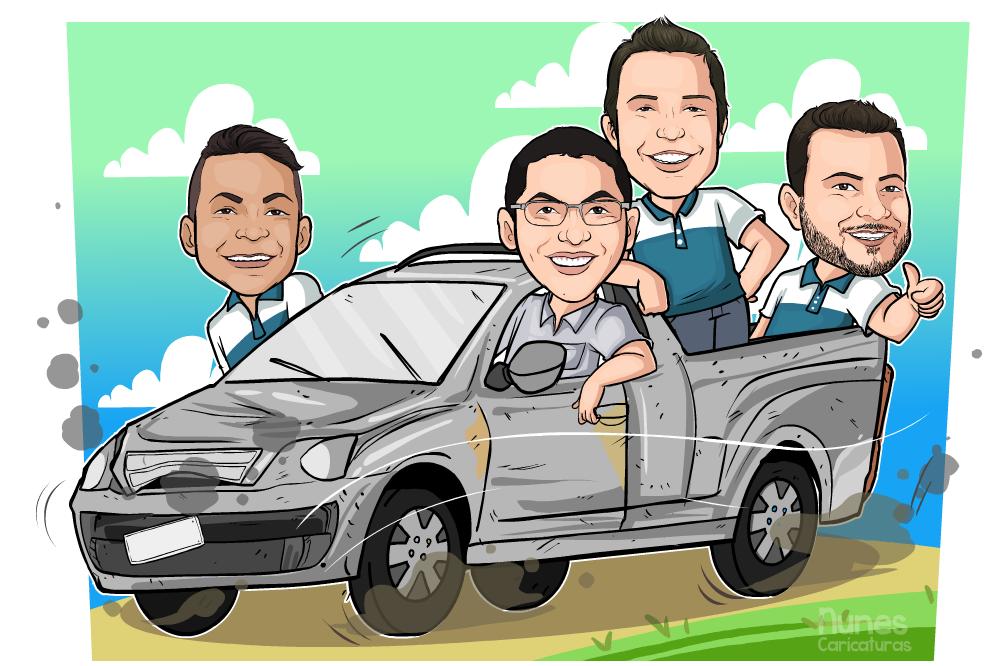 Caricaturas de quatro pessoas no carro
