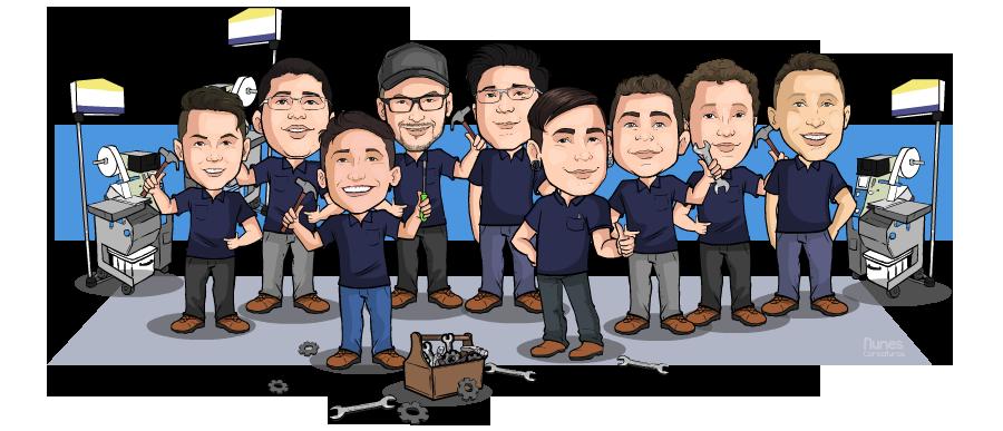 Desenho caricatura com varias pessoas