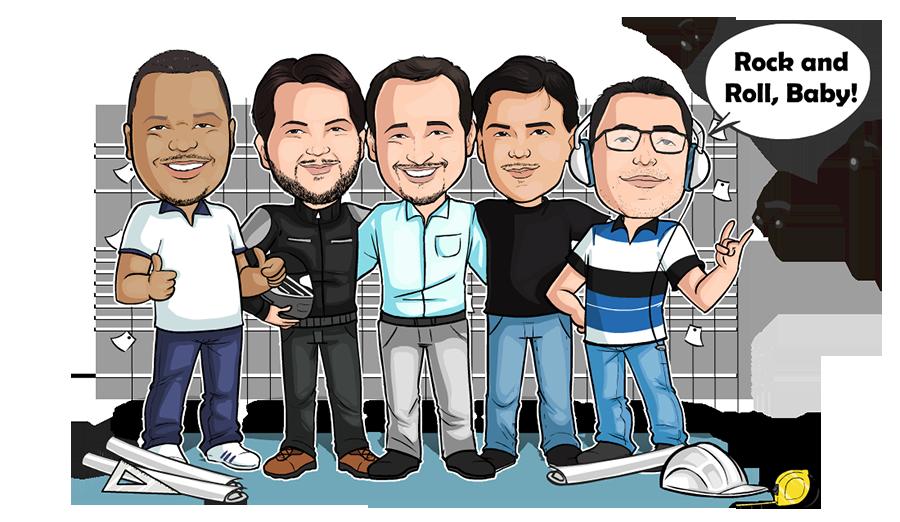 Caricatura com equipe de engenheiros