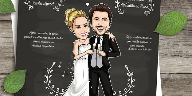 Convite noivos Brindando